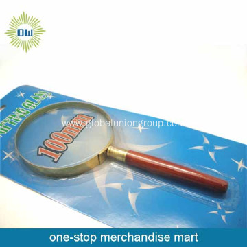 Cheap metal frame wooden handle magnifying glass